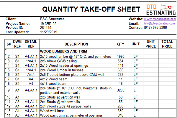 Lumber Takeoff and Estimation